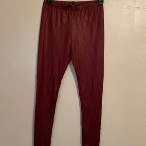 Burgundy leather leggings